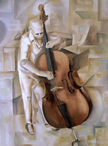 Man with Double Bass - homage to Picasso's analytical Cubism. Copyright (c)2015 Paul Alan Grosse