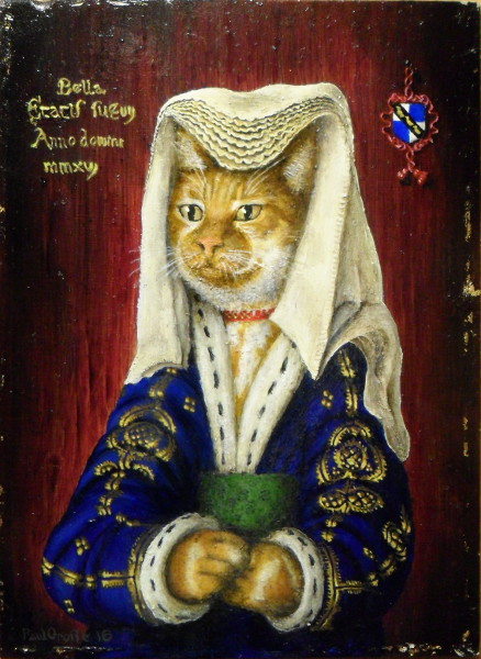 'Bella' - Miniature of one of our cats in traditonal Dutch headdress and blue and gold brocade coat with ermine trim. Copyright (c)2016 Paul Alan Grosse