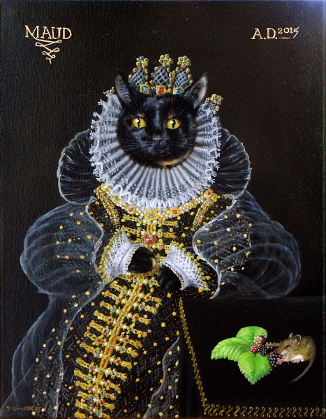 'Queen Maud - the 'Mouse' portrait' - One of our cats style of Queen Elizabeth the first's 'Ermine' portrait. Copyright (c)2015 Paul Alan Grosse