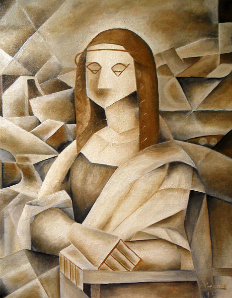 The Mona Lisa painted in the style of Picasso's Analytical Cubism. Copyright (c)2015 Paul Alan Grosse