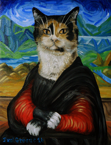 'Olivia' - One of our cats in the style of Vincent Van Gogh's famous painting, the Mona Lisa. Copyright (c)2016 Paul Alan Grosse