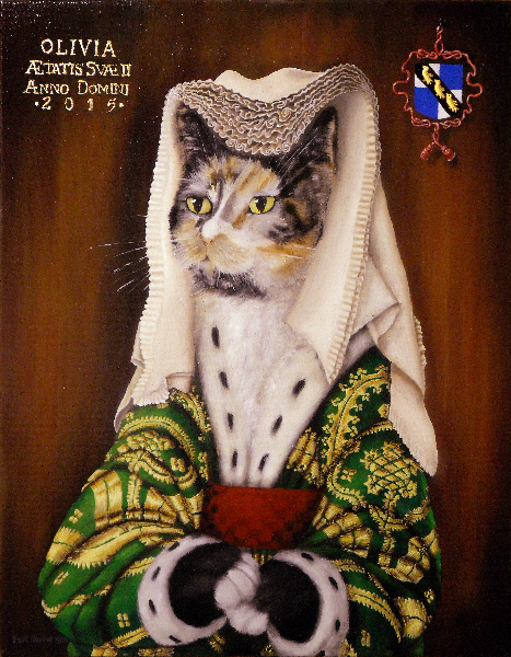 'Olivia' - One of our cats in the style of Jan Van Eyke's portrait of his wife, along with a healthy dose of Rogier Van der Weyden's paintings added. Copyright (c)2016 Paul Alan Grosse