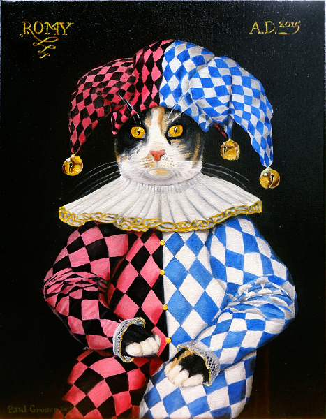'Romy' - One of the kittens as a Jester in the style of Elizabethan paintings. Copyright (c)2015 Paul Alan Grosse