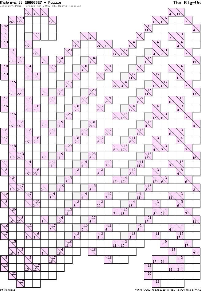 photo about Kakuro Printable named Kakuro Puzzles :: The Substantial-Un :: Grosse is a geek